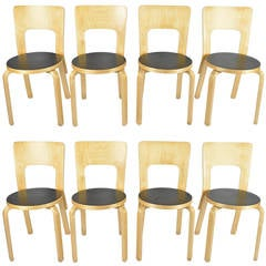"Set of Eight Alvar Aalto ""Model 66"" Chairs"