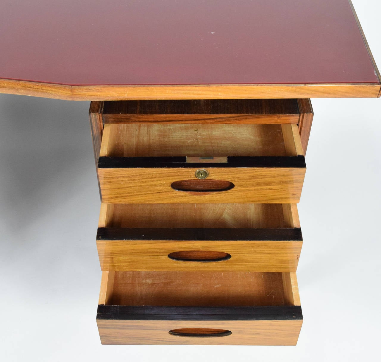 Italian Teak Wood Desk With Red Lucite Inlaid Top At 1stdibs