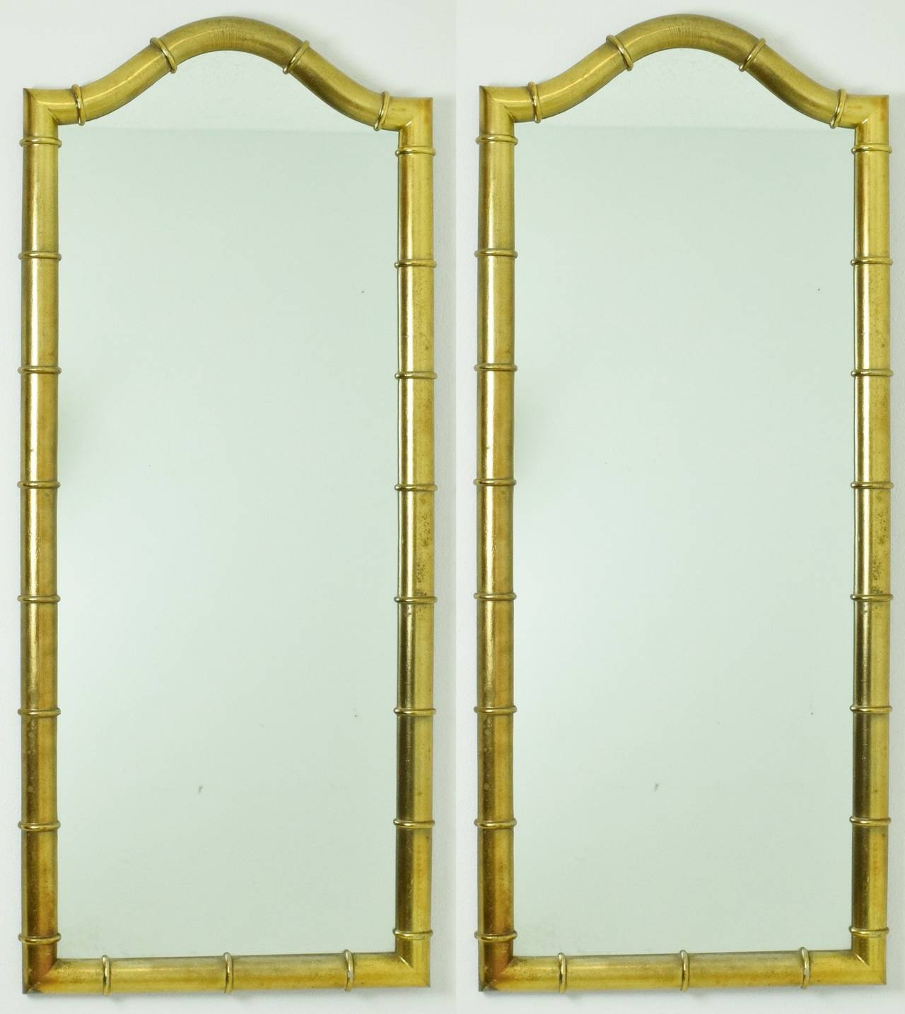 Pair of Drexel Mirrors in Faux Bamboo with Gold Leaf Finish For Sale ...