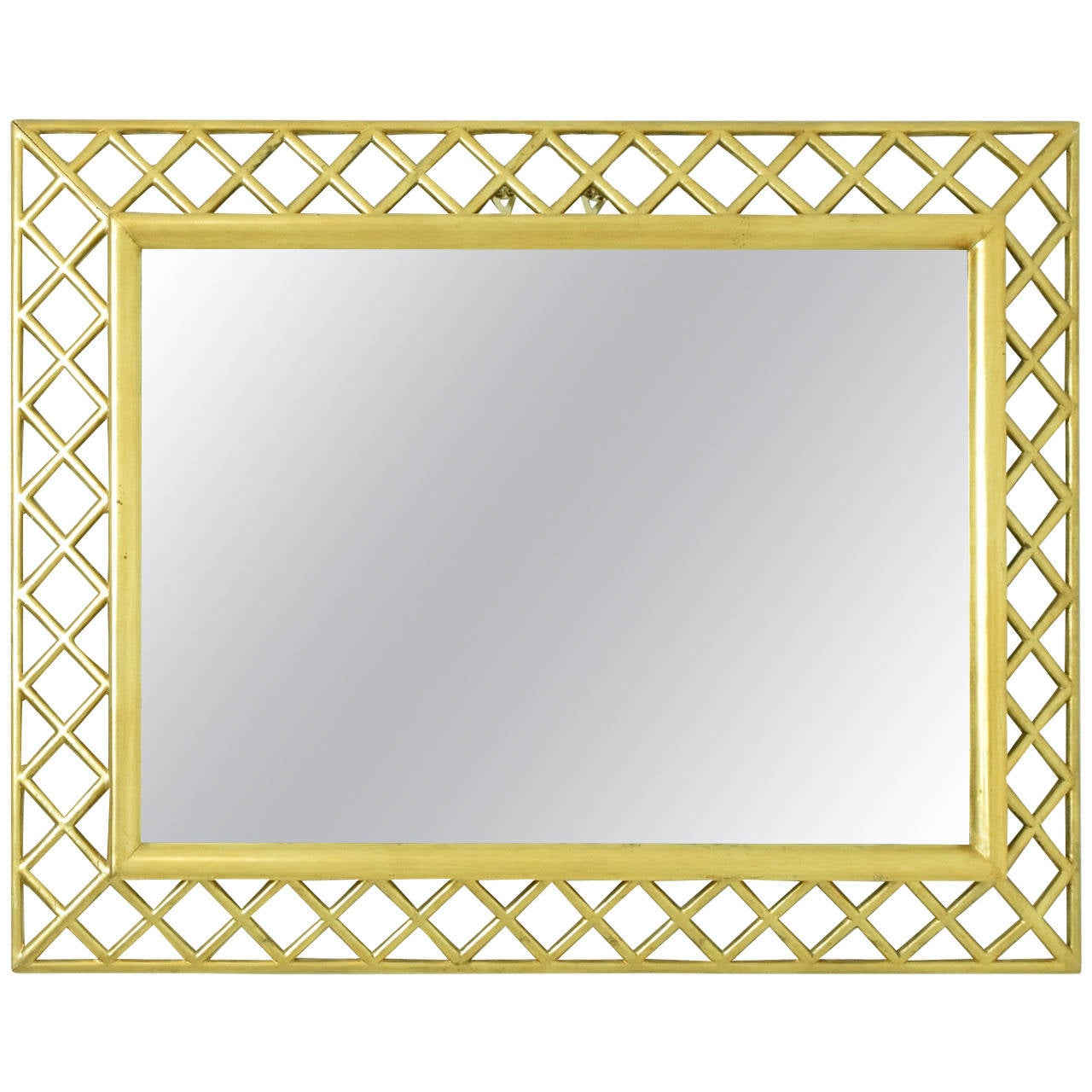 Italian Giltwood Lattice Frame Mirror