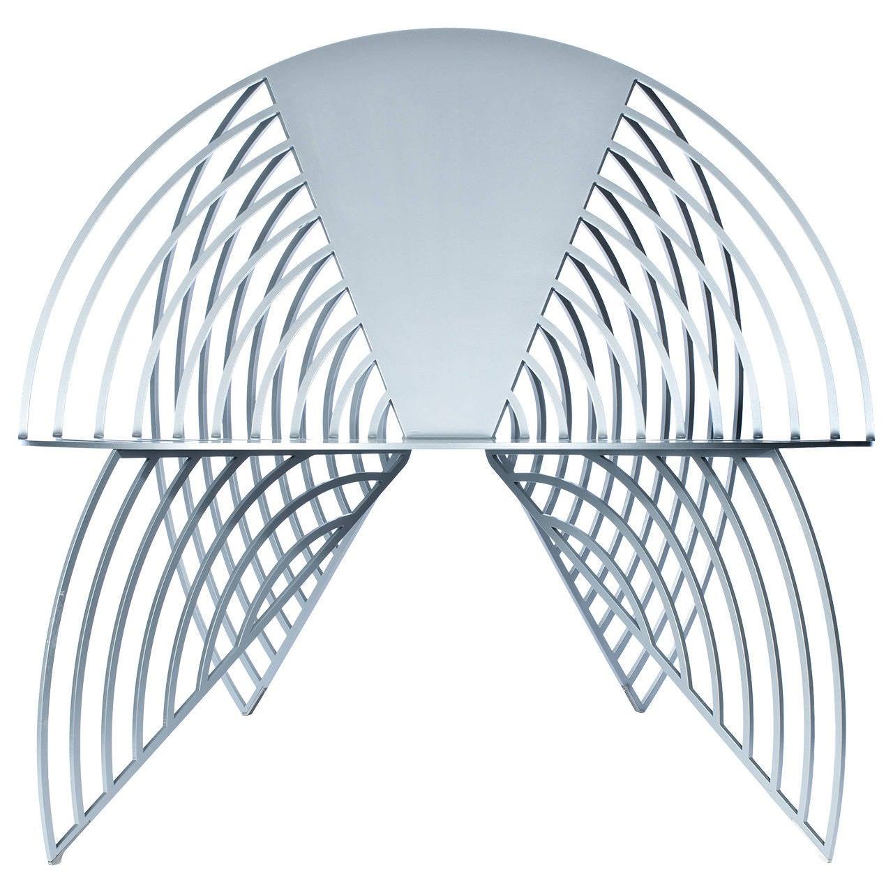 Wings of Steel Sculptural Chair in Silver, Designed by Laurie Beckerman in 2012