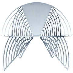 Wings of Steel Sculptural Chair in Silver, Designed by Laurie Beckerman in 2012