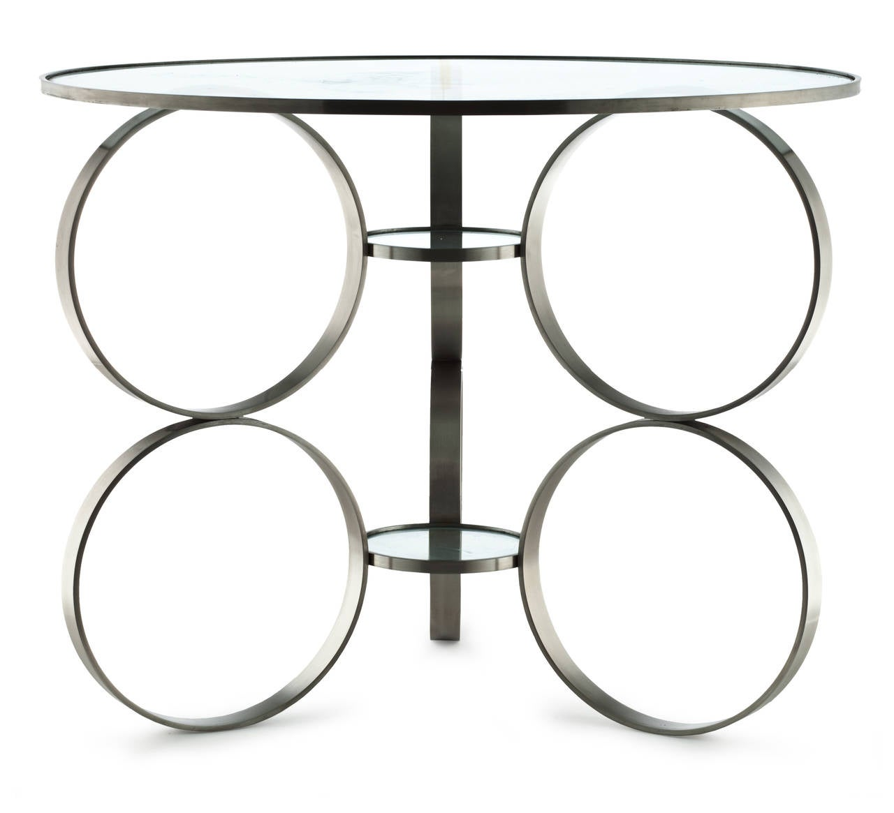 This elegant table is composed of nine rings of steel organized in perfect proportion. Tempered glass is in the tabletop and the two smaller rings. Originally designed in 2006.  Made-to-order in New York City. Require a 50% deposit and then