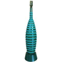 1960s Italian Glazed Pottery Table Lamp with Ribbon Motif