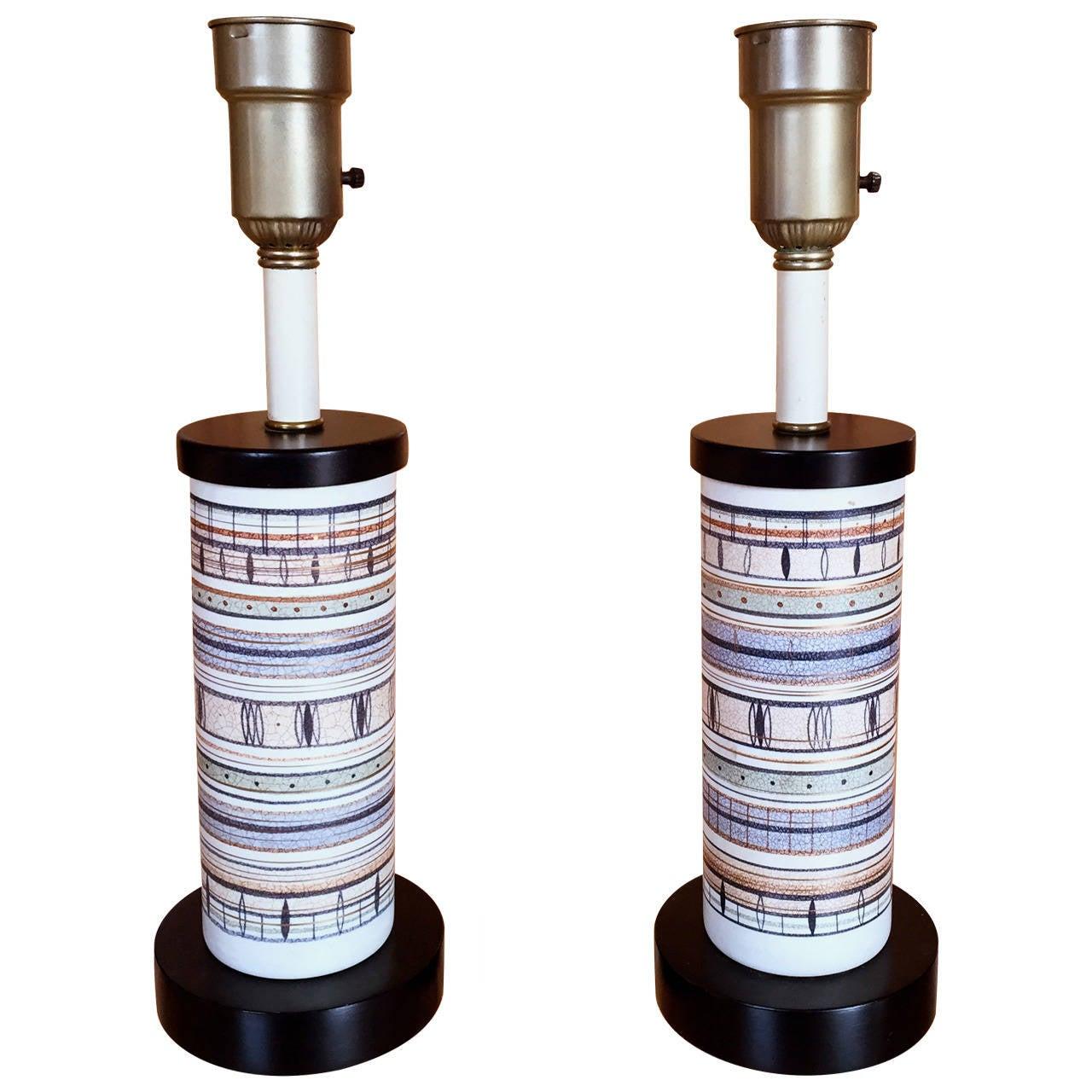 Pair of Sascha Brastoff Pottery Lamps
