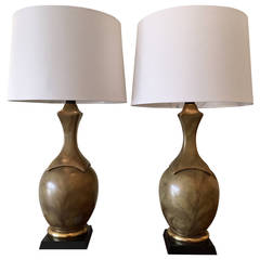 Pair of Metallic-Glazed Table Lamps in the Style of Chapman