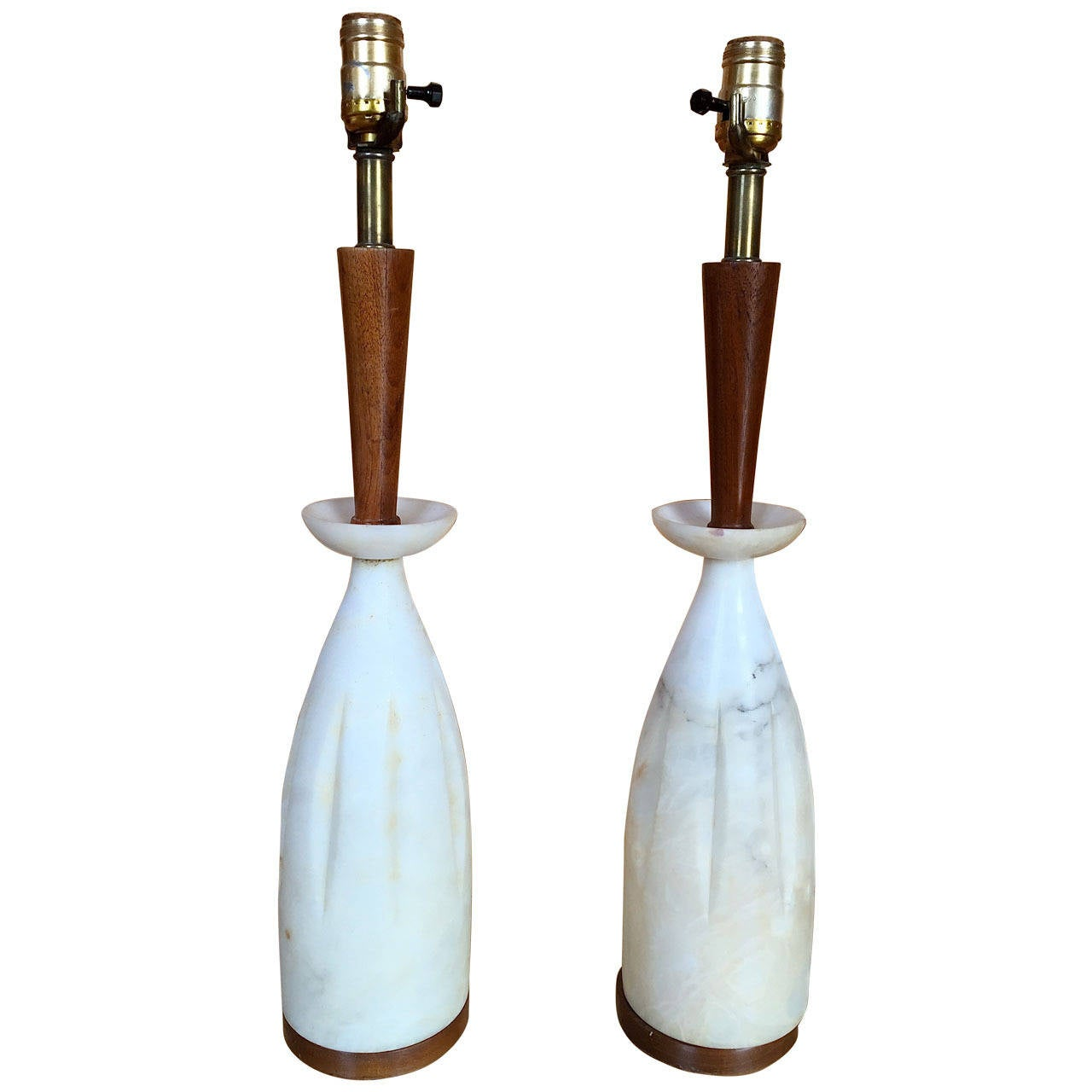 Pair of Italian Alabaster and Walnut Table Lamps