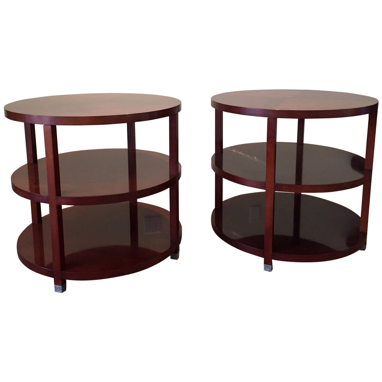 pair of barbara barry for baker round tiered end tables for sale at 1stdibs. Black Bedroom Furniture Sets. Home Design Ideas