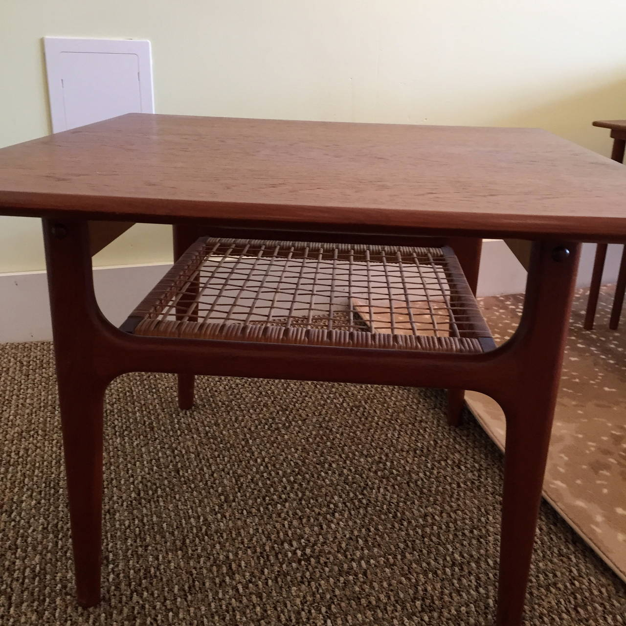 Danish Modern End Table With Woven Rattan Shelf By Trioh In Excellent Condition For