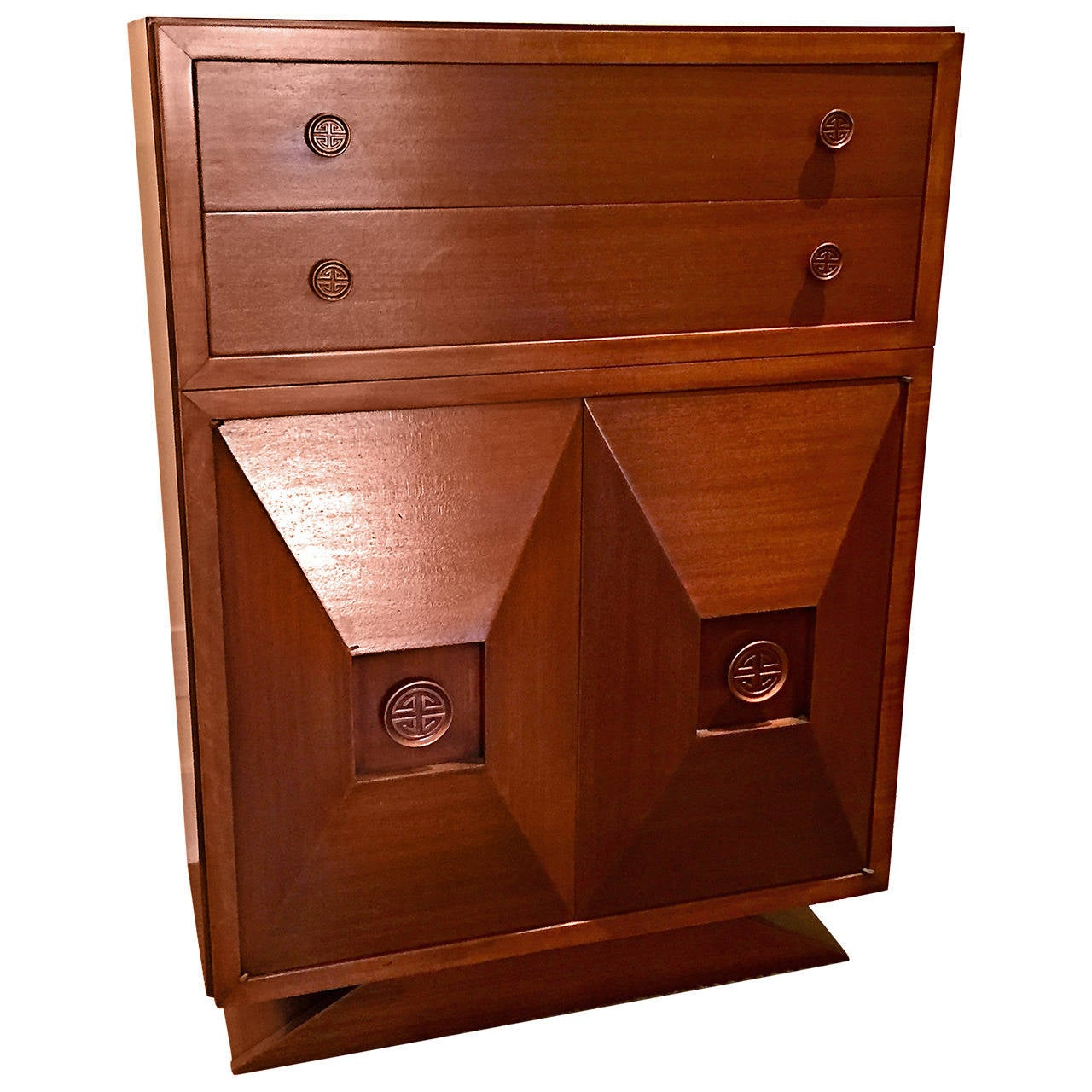 Tall Cuban Mahogany Chest of Drawers in the Style of James Mont
