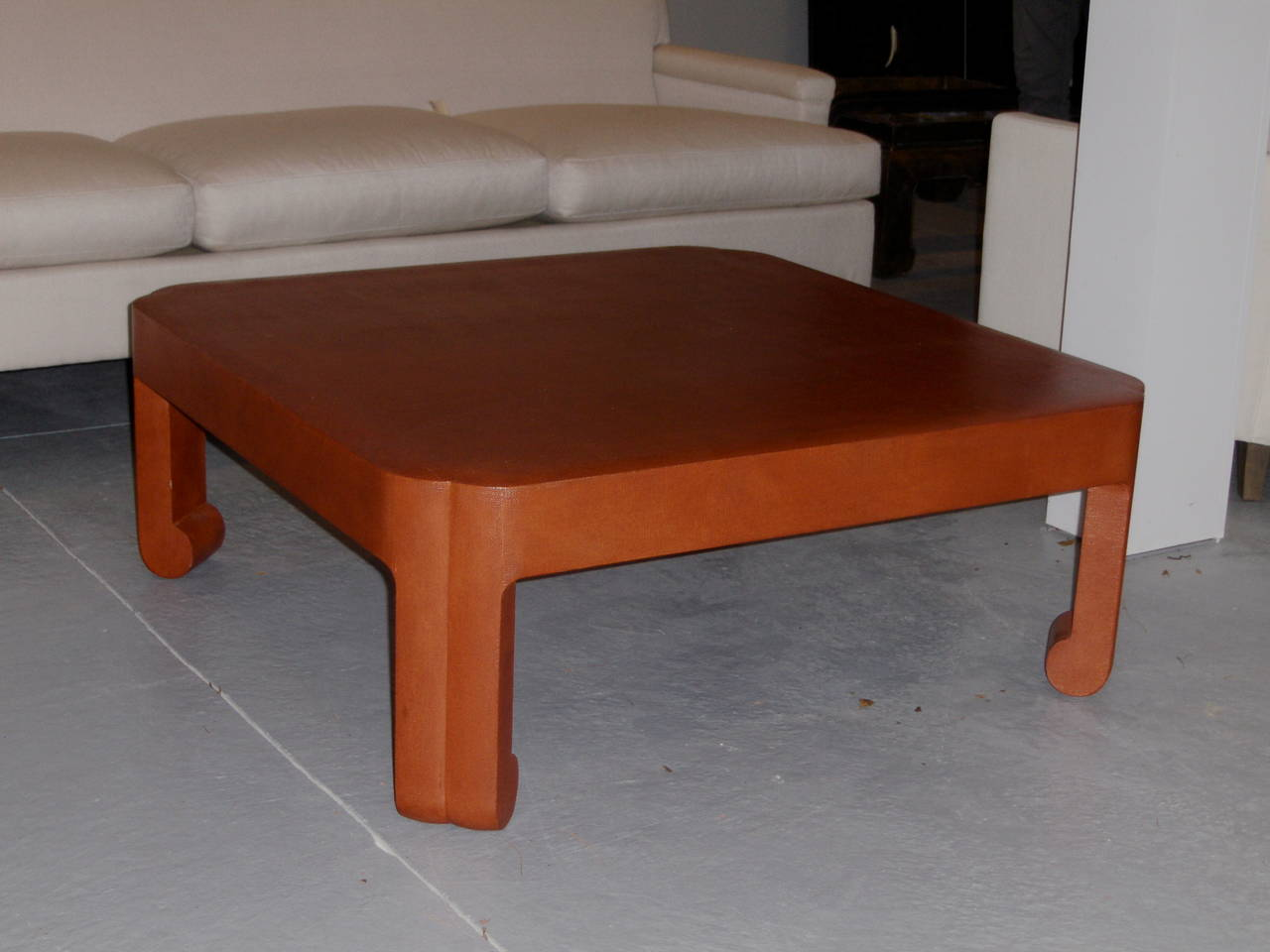 Custom Linen Wrapped Low Table By Mark Hampton For Sale At 1stdibs