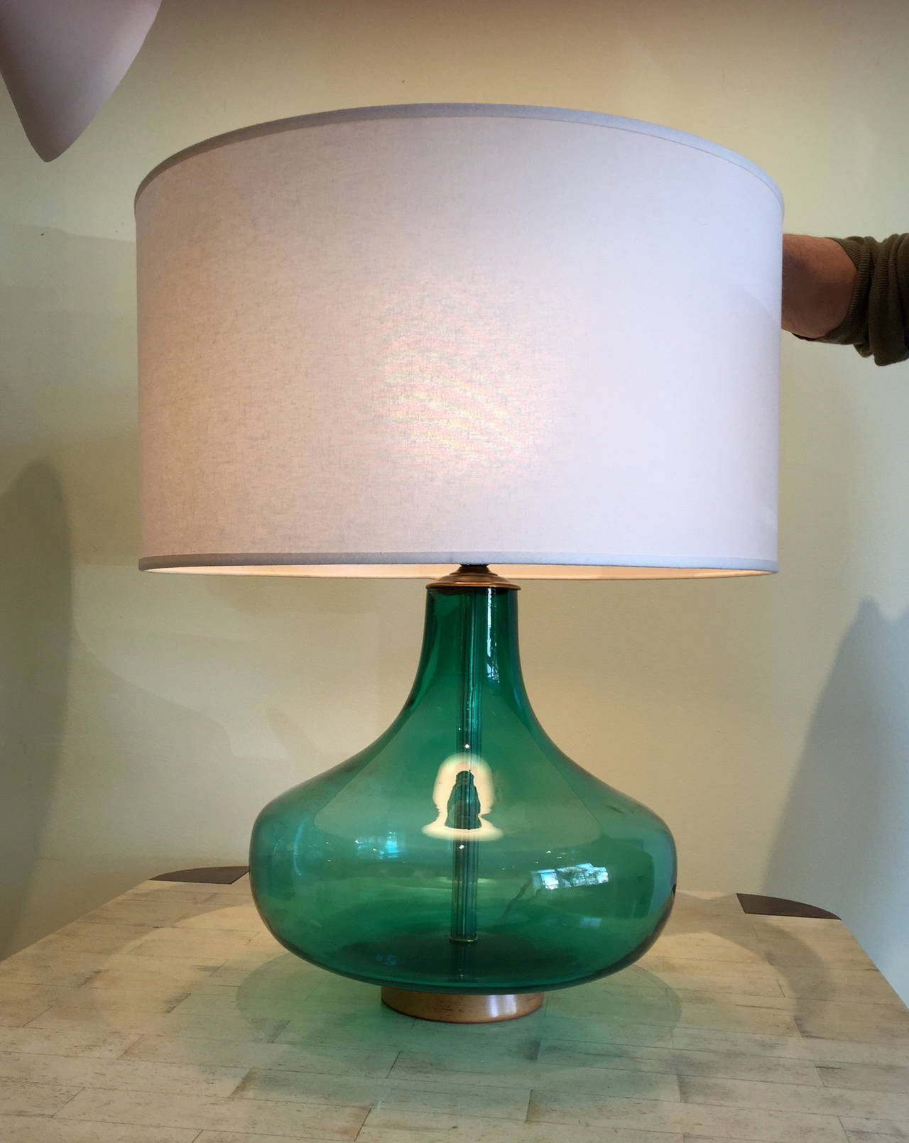 Emerald green table lamp - Blenko Glass Emerald Green Table Lamp 3