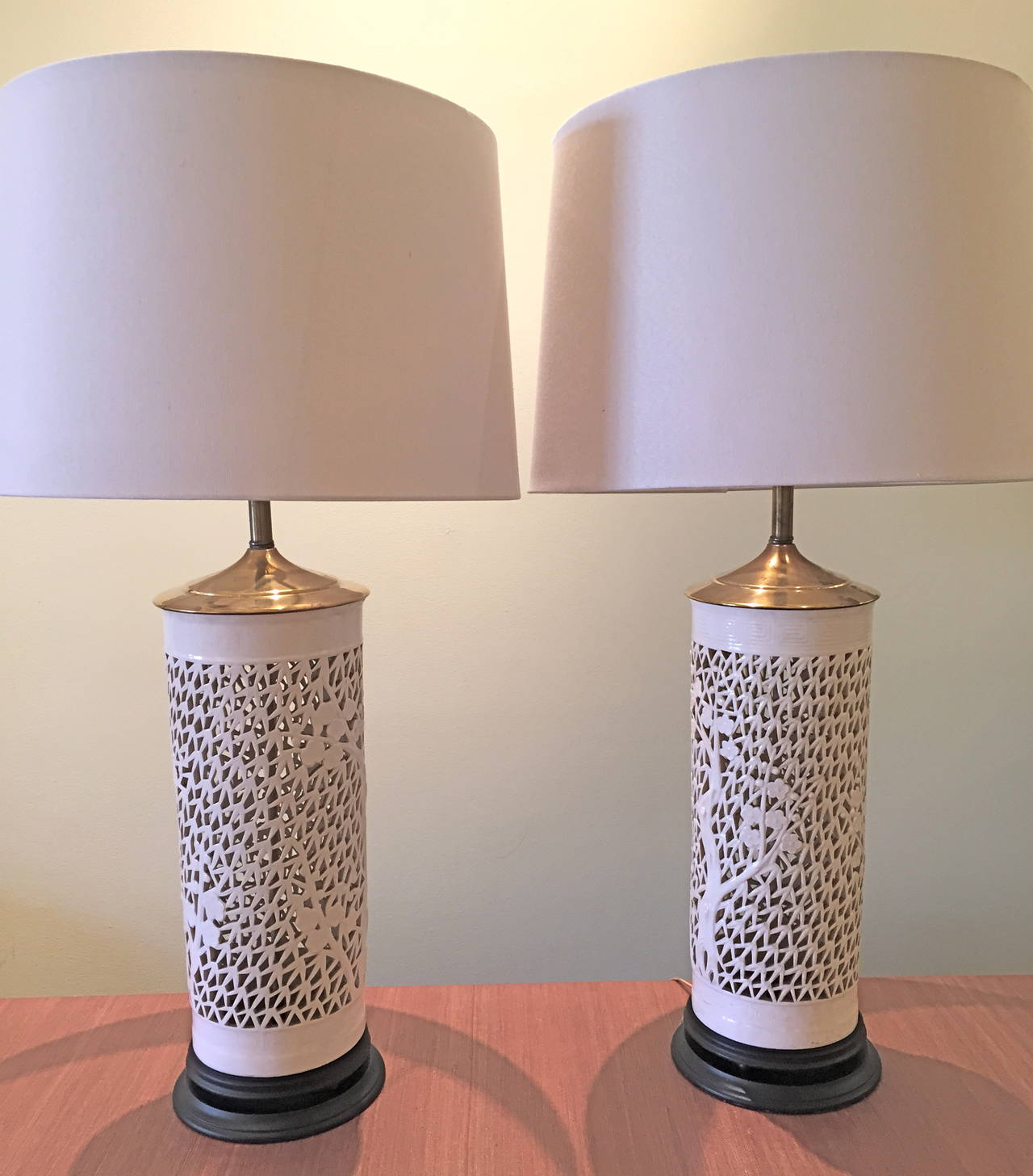 Pair of blanc de chine pierced porcelain table lamps at for Table de chine