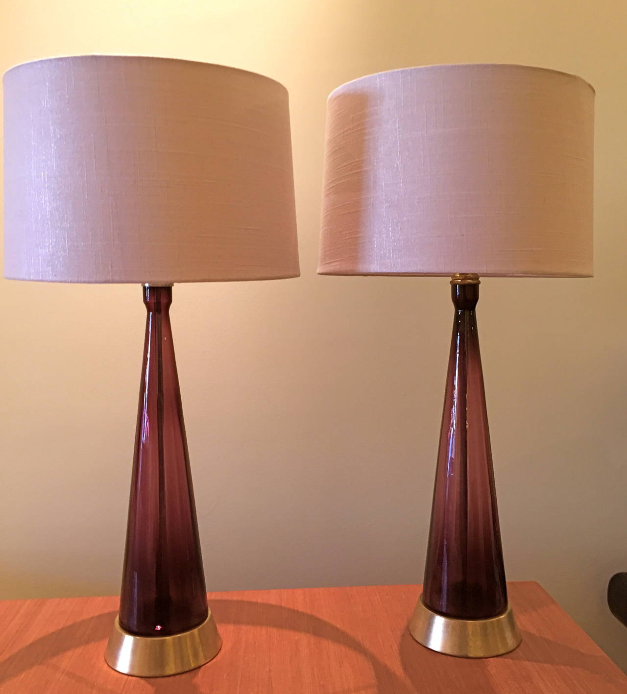 pair of amethyst colored blenko glass table lamps at 1stdibs. Black Bedroom Furniture Sets. Home Design Ideas