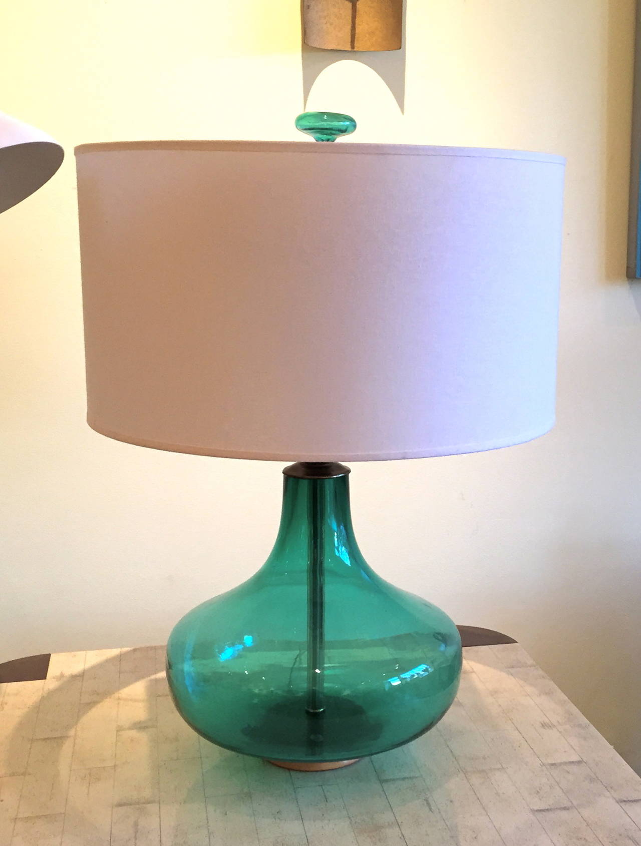 Emerald green table lamp - Blenko Glass Emerald Green Table Lamp 2