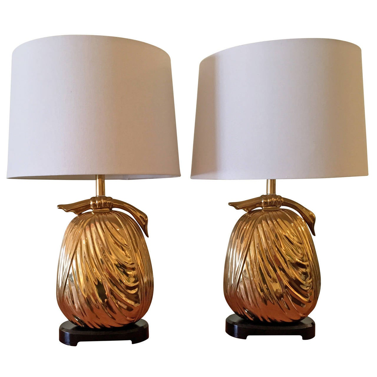"Pair of Chapman ""Sacks of Gold"" Brass Table Lamps"
