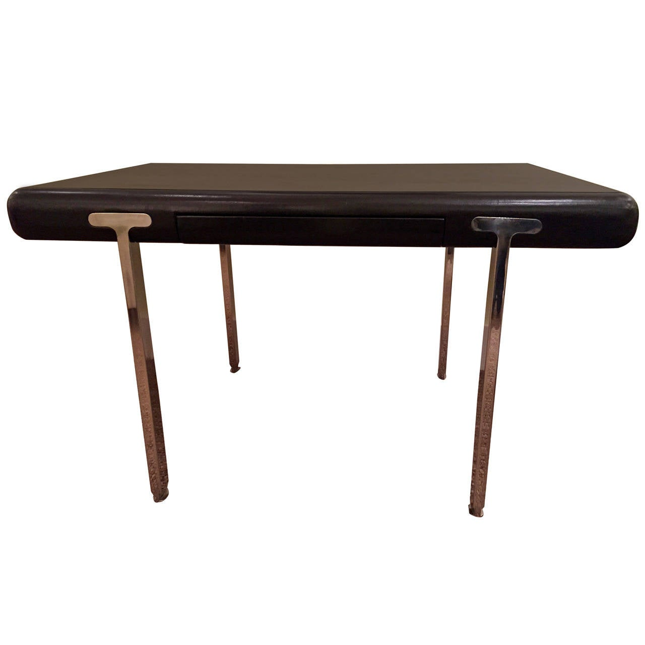 Black Leather and Stainless Steel Desk by John Mascheroni