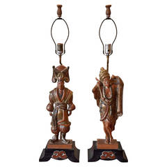 Pair of Asian Inspired Carved Wood Table Lamps by Stasack