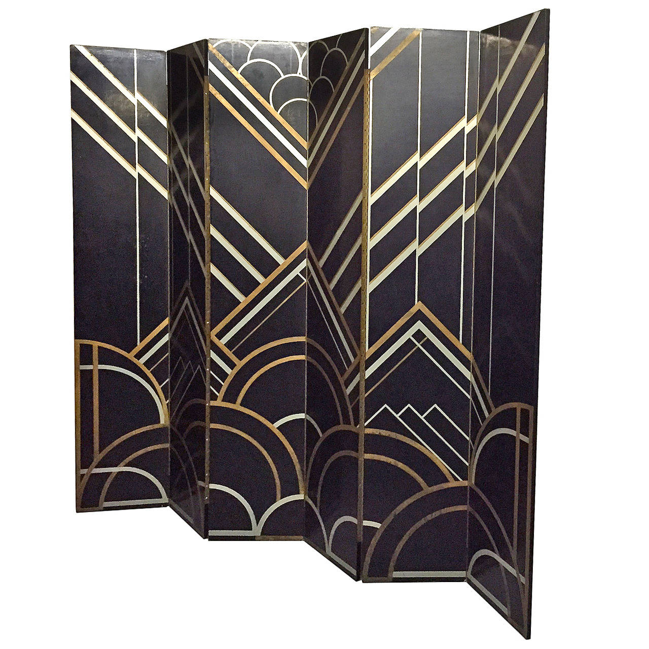 1930s art deco six panel folding screen in the style of for New art deco style furniture