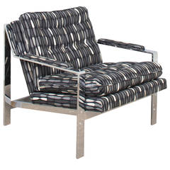Large Flat Bar Chrome Lounge Chair in the Style of Milo Baughman