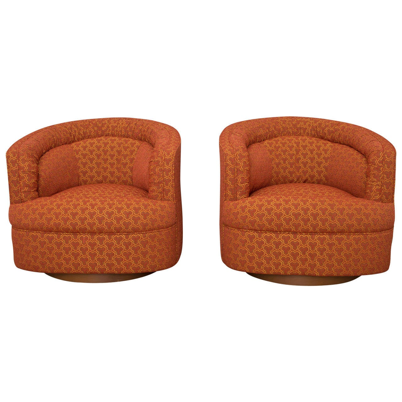 Milo Baughman Style Swivel Club Chairs At 1stdibs