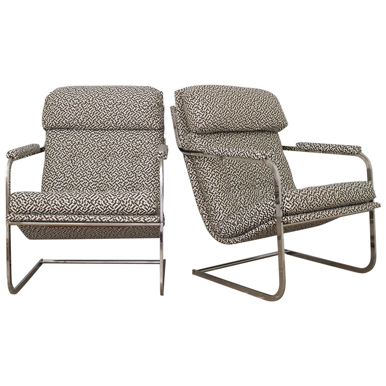 Carsons of high point cantilevered chrome chairs for sale for Carson chaise lounge