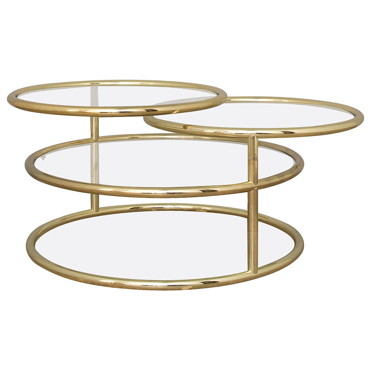 Brass and Glass Swivel Coffee Table at 1stdibs