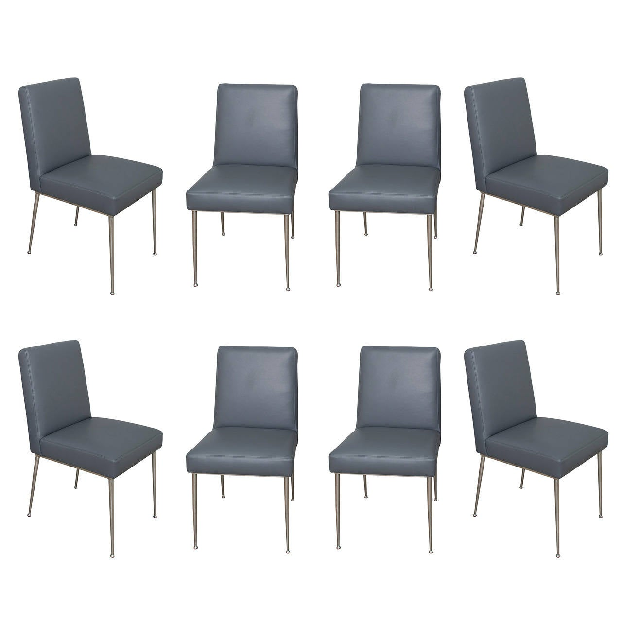 Mid century modern leather chairs - Set Of 8 Mid Century Italian Chrome And Leather Dining Chairs 1