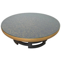 Kittinger Gilded Coffee Table with Hand Painted Leather Top