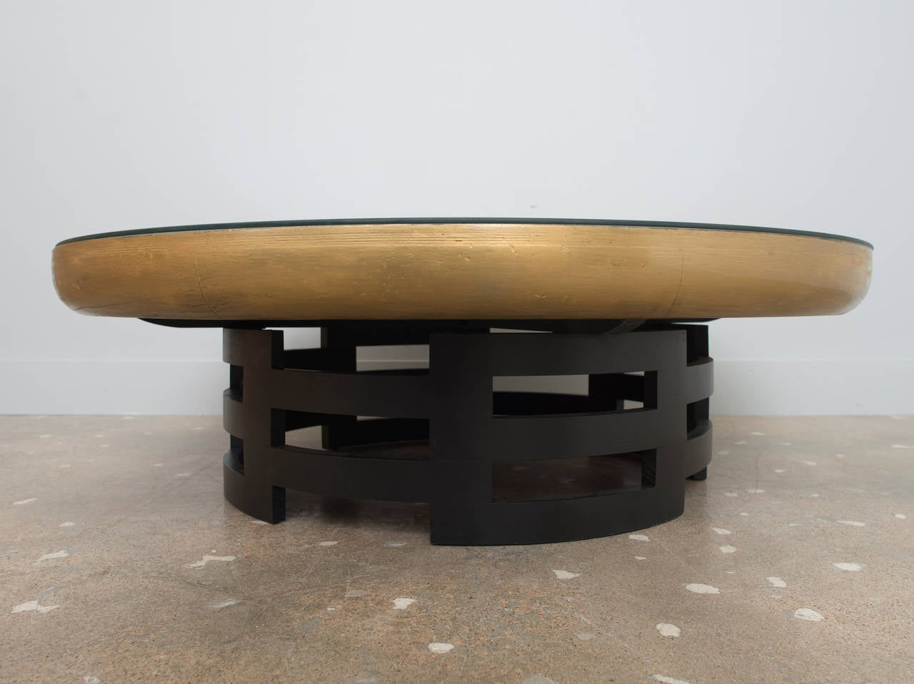 Kittinger Gilded Coffee Table With Hand Painted Leather Top 3