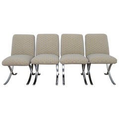 Set of 4 Milo Baughman for Directional X-Base Chairs