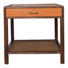 Large McGuire Cane, Walnut and Lacquer End Table
