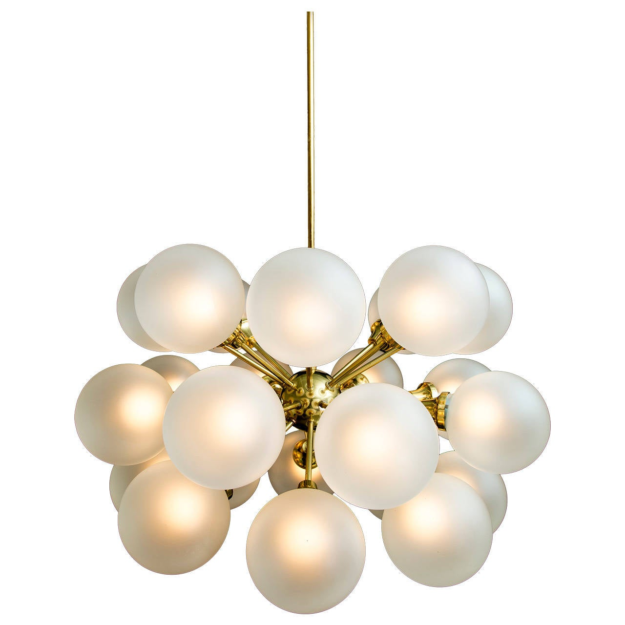 Mid Century 24 Globe Brass and Opaque Glass Chandelier