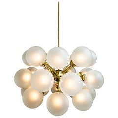 Mid-Century Brass and Opaque Glass Chandelier