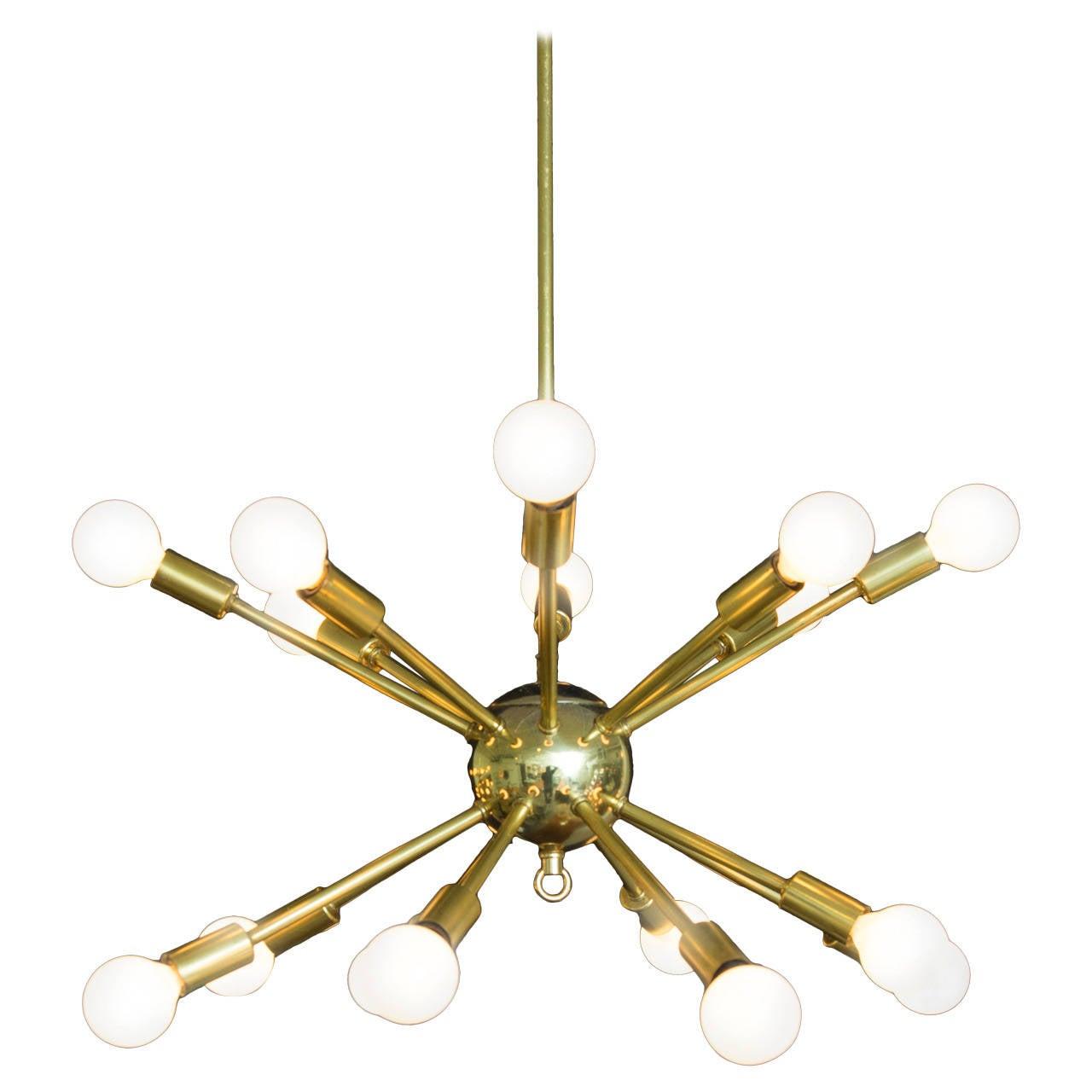 Brass Sputnik 16 Arm Chandelier At 1stdibs