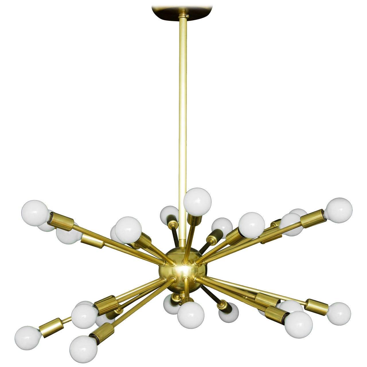 Brass sputnik 24 arm chandelier at 1stdibs for Sputnik chandelier