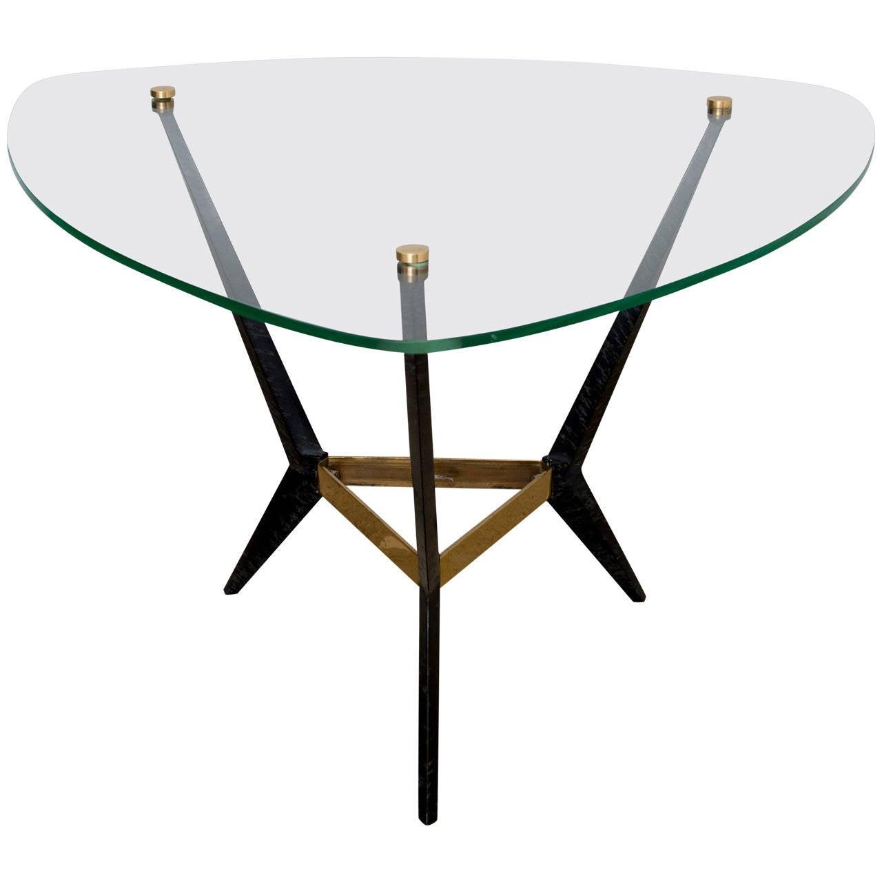 Angelo Ostuni Italian Triangular Midcentury Brass And Steel Side Table 1