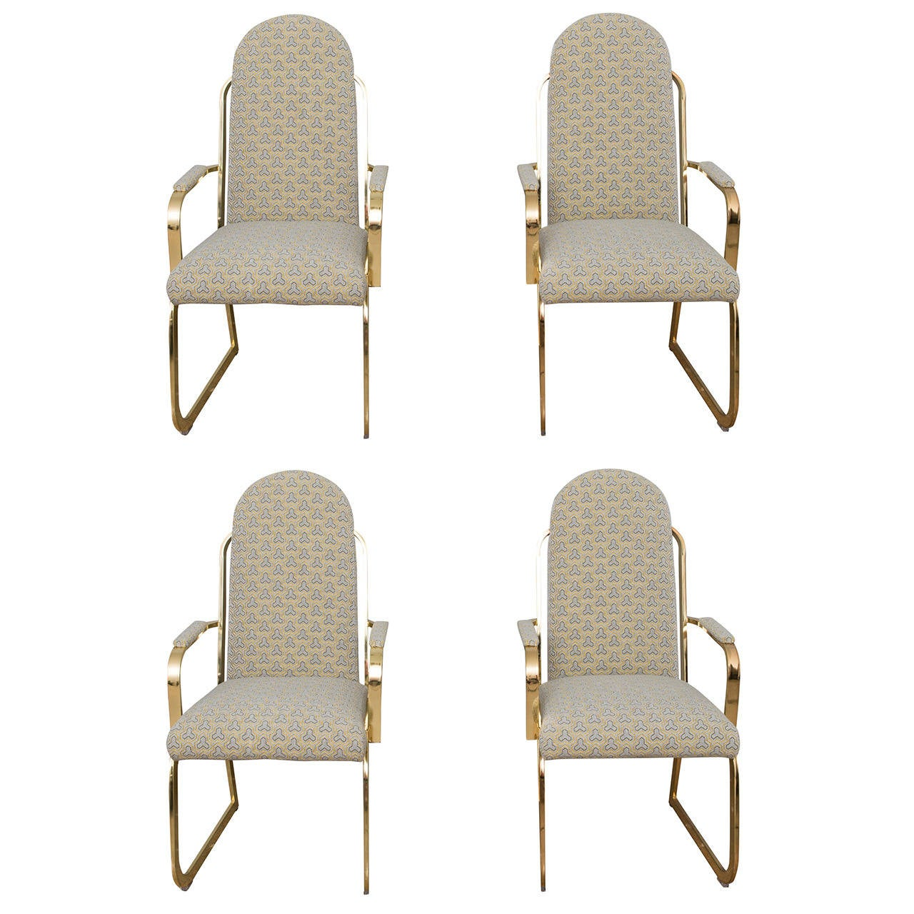 Four Brass High Back Dining Chairs in the Style of Milo Baughman