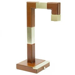 Le Tanneur Leather and Brass Plated Table Lamp