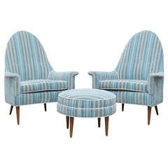 Adrian Pearsall Pair of High Back Lounge Chairs and Ottoman