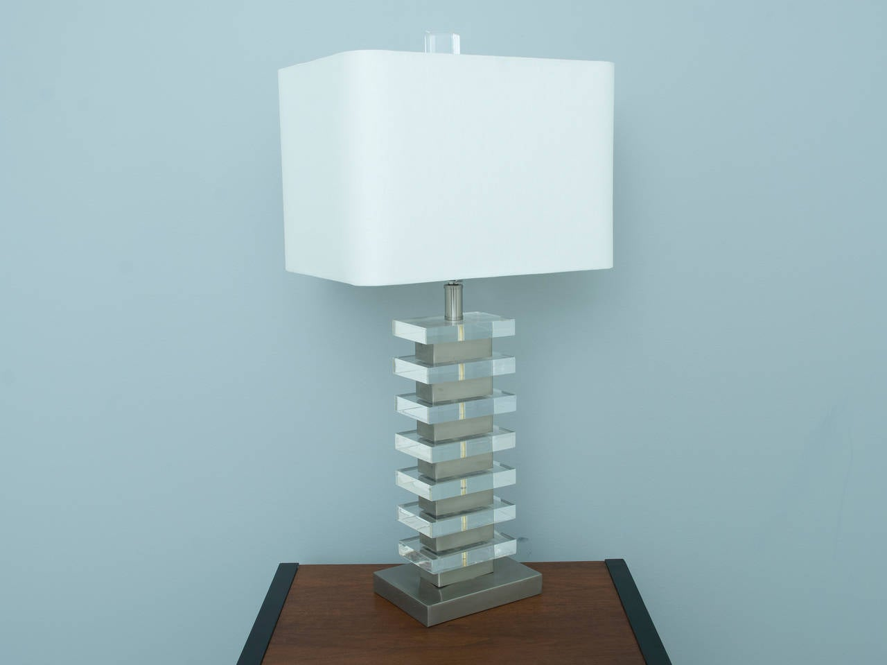 Lucite Block and Brushed Nickel Table Lamp in the Style of Karl Springer For Sale at 1stdibs