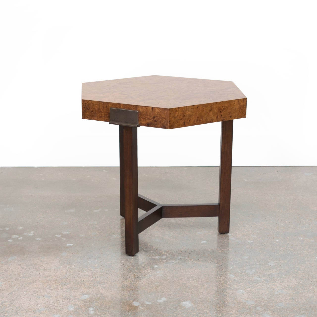 Vintage Burled Cypress Wood Live Edge Side Table At 1stdibs: Milo Baughman Hexagonal Burl Wood And Brass Side Table At