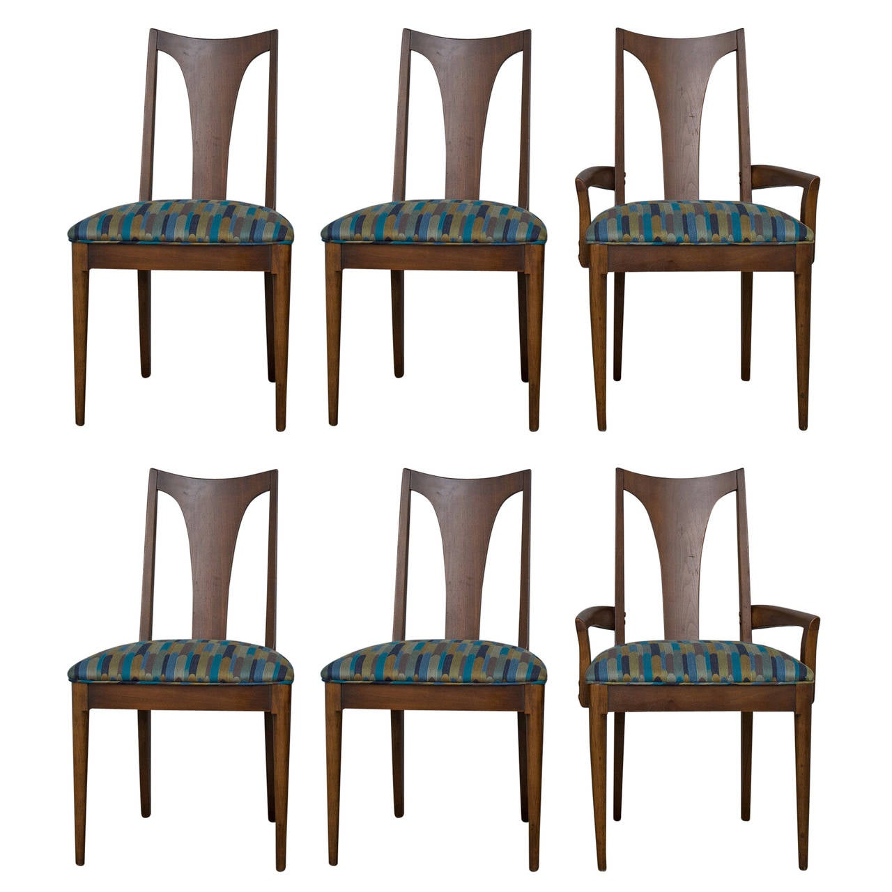Mid Century Modern Vintage Walnut Dining Chairs For Sale
