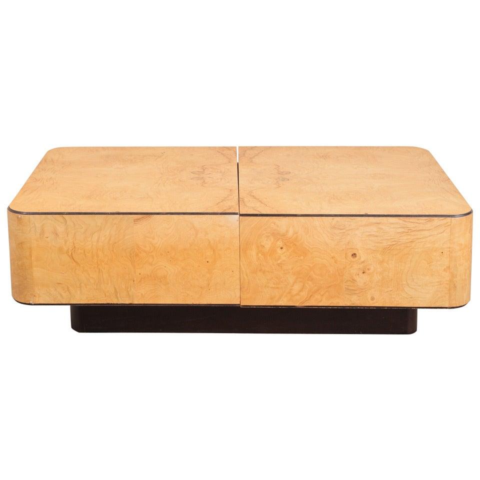 Widdicomb Burl Wood Hidden Bar Coffee Table For Sale At 1stdibs