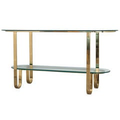 Design Institute of America Brass and Glass Console Table