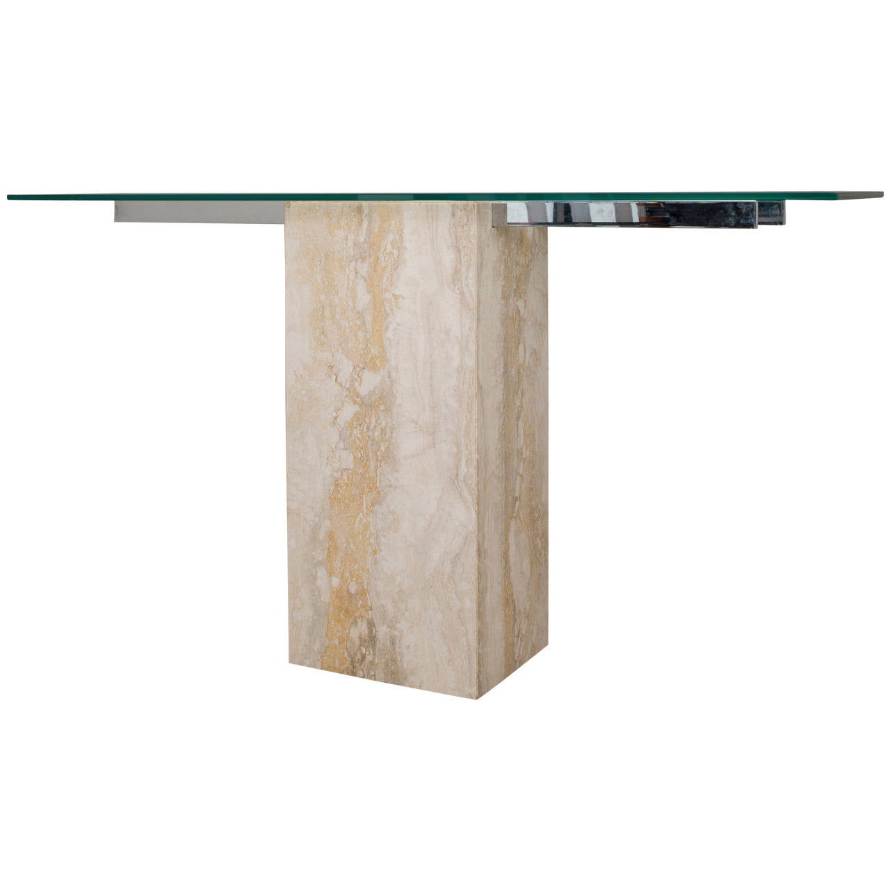 Travertine dining room table - Italian Travertine And Glass Console Table By Ello