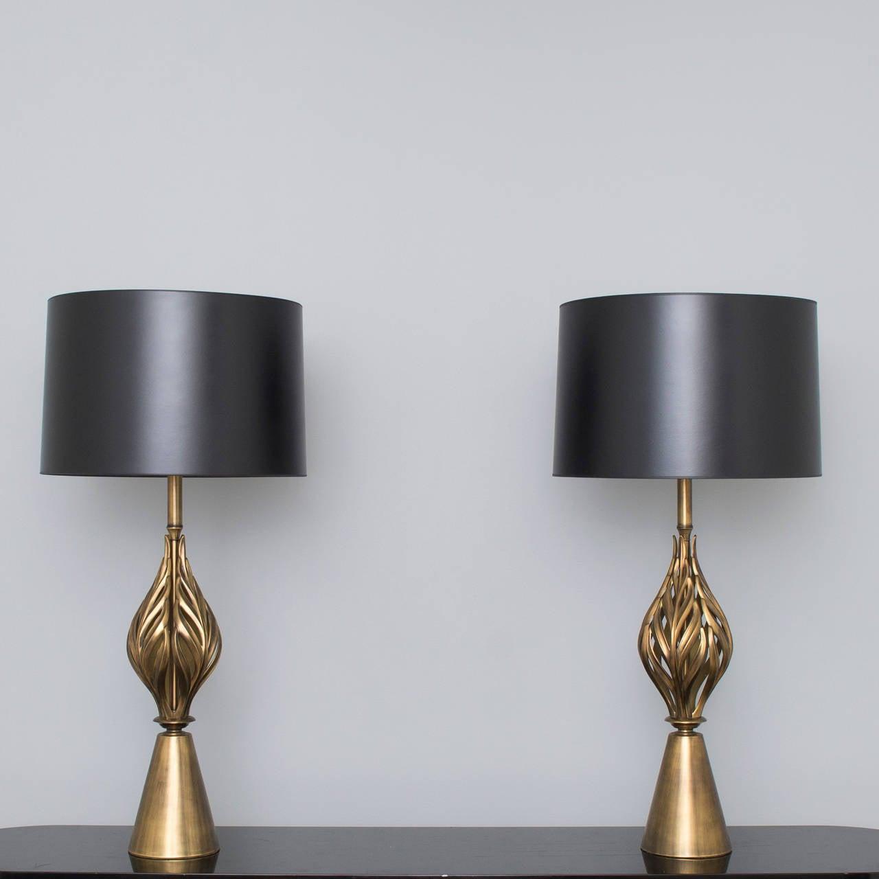 Hollywood Regency Brass Leaf Form Lamps 2
