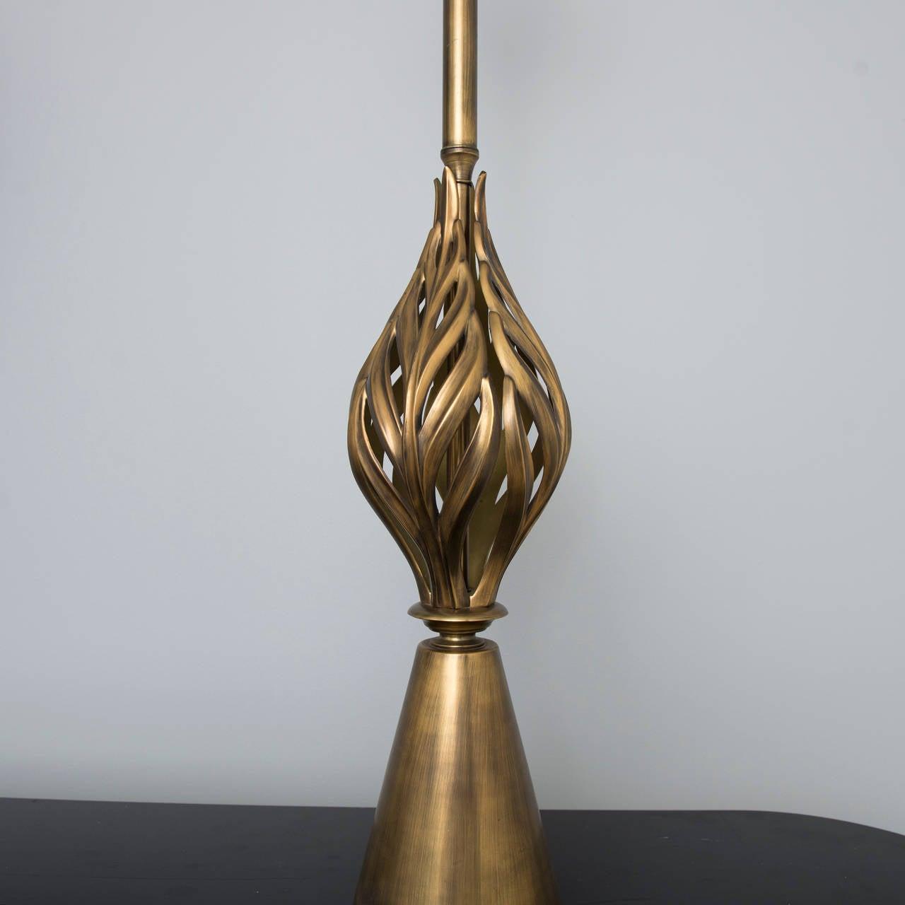 Hollywood Regency Brass Leaf Form Lamps 3
