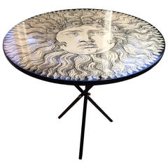 Limited Edition of Fornasetti Table Depicting Sun King with Tripod Base
