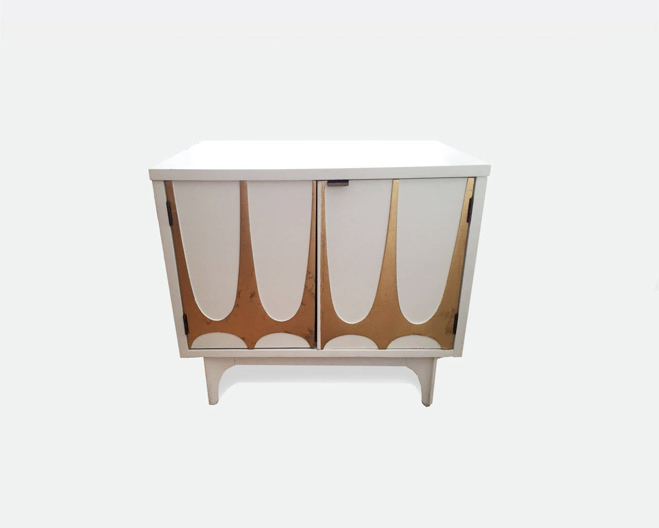 Beautiful pair of white Broyhill Brasilia Night Stands featuring a gold leafed modernist motif on the fronts.